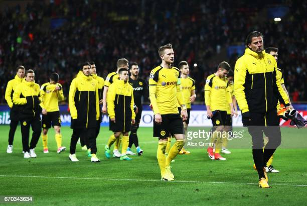 Marco Reus of Borussia Dortmund and Roman Weidenfeller of Borussia Dortmund are dejected after losing the UEFA Champions League Quarter Final second...