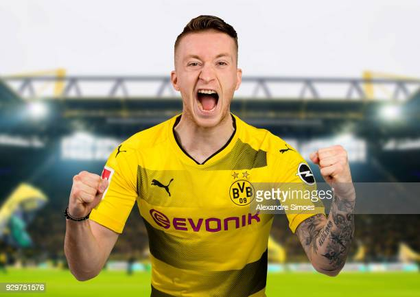 Marco Reus of Borussia Dortmund attends his contract extension signing for Borussia Dortmund on March 9 2018 in Dortmund Germany