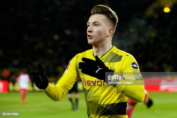 Marco Reus of Borussia Dortmund celebrates 10 during the German Bundesliga match between Borussia Dortmund v FC Augsburg at the Signal Iduna Park on...