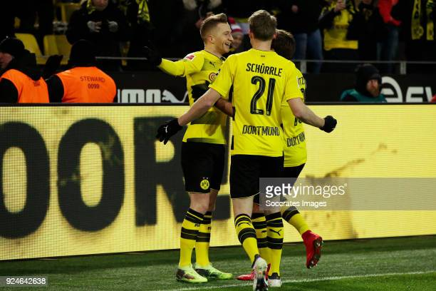 Marco Reus of Borussia Dortmund celebrates 10 with Mario Gotze of Borussia Dortmund Andre Schurrle of Borussia Dortmund during the German Bundesliga...