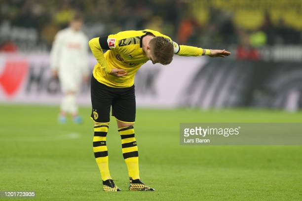 Marco Reus of Borussia Dortmund celebrates after he scores his sides second goal during the Bundesliga match between Borussia Dortmund and 1 FC Koeln...