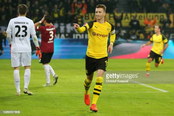 Marco Reus of Borussia Dortmund celebrates after scoring his team' second goal during the Bundesliga match between Borussia Dortmund and Hannover 96...