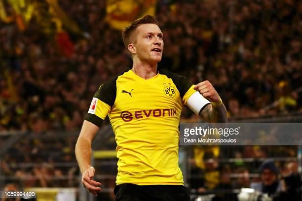 Marco Reus of Borussia Dortmund celebrates after scoring his team's second goal during the Bundesliga match between Borussia Dortmund and FC Bayern...
