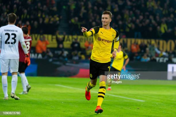 Marco Reus of Borussia Dortmund celebrates after scoring his team's second goal during the Bundesliga match between Borussia Dortmund and Hannover 96...
