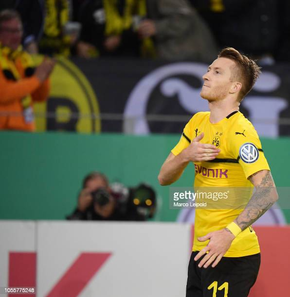 Marco Reus of Borussia Dortmund celebrates after scoring the 32 during the game between Borussia Dortmund and Union Berlin at the Signal Iduna Park...
