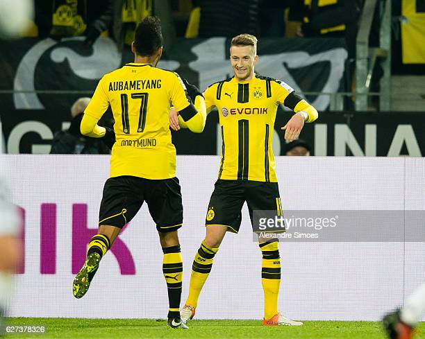 Marco Reus of Borussia Dortmund celebrates after scoring the goal to the 41 during to the Bundesliga match between Borussia Dortmund and Borussia...