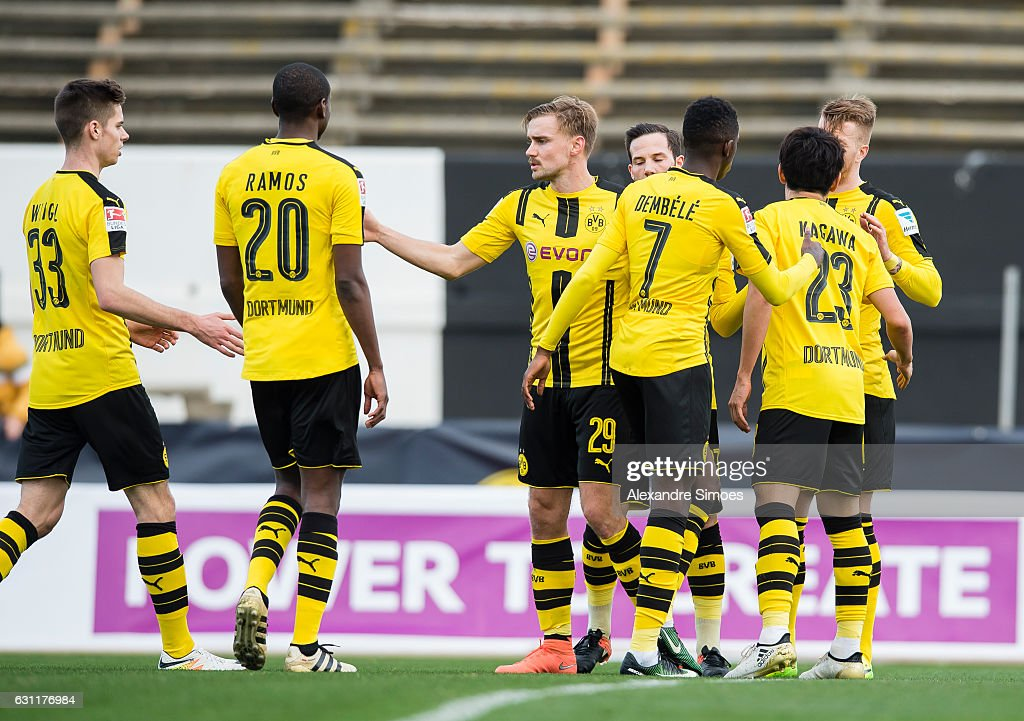 Marco Reus of Borussia Dortmund celebrates after scoring the opening goal with during the friendly match between Borussia Dortmund v PSV Eindhoven - Friendly Match at Estadio Municipal La Linea de la Concepcion on January 7, 2017 in Cadiz, Spain.
