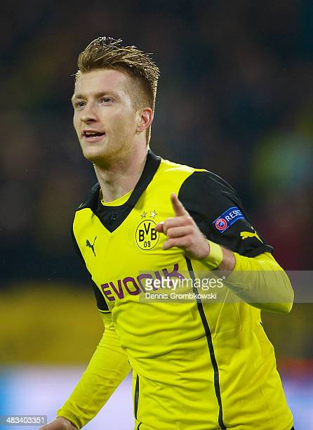 Marco Reus of Borussia Dortmund celebrates scoring his second goal during the UEFA Champions League Quarter Final second leg match between Borussia...