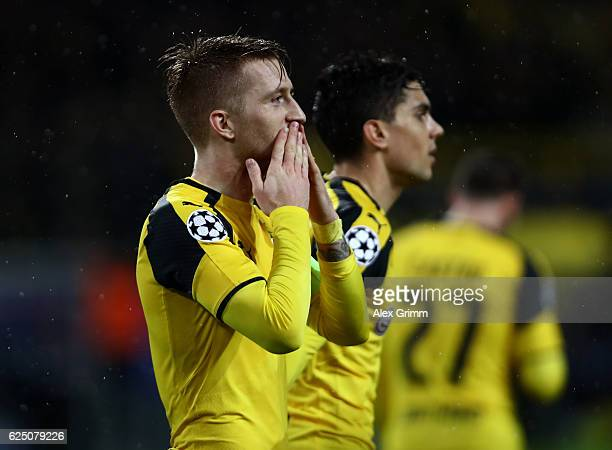 Marco Reus of Borussia Dortmund celebrates scoring his teams fifth goal during the UEFA Champions League Group F match between Borussia Dortmund and...