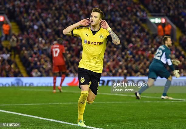 Marco Reus of Borussia Dortmund celebrates scoring his team's third goal during the UEFA Europa League quarter final, second leg match between...