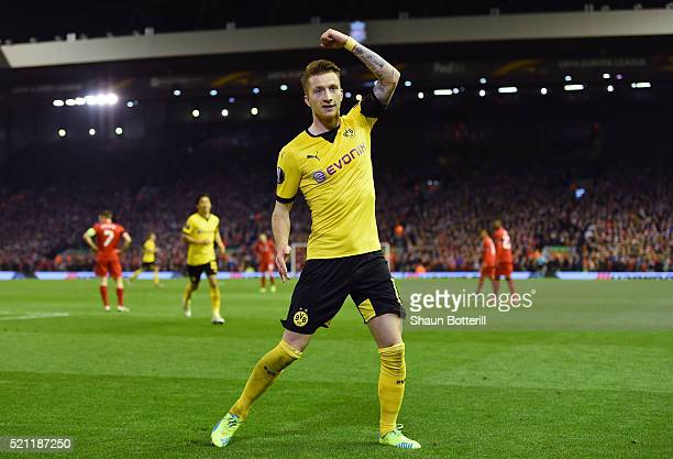 Marco Reus of Borussia Dortmund celebrates scoring his team's third goal during the UEFA Europa League quarter final second leg match between...