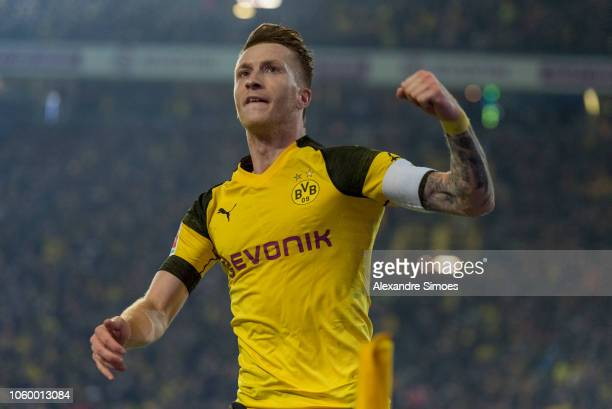 Marco Reus of Borussia Dortmund celebrates scoring the goal to the 22 during the Bundesliga match between Borussia Dortmund and FC Bayern Muenchen at...