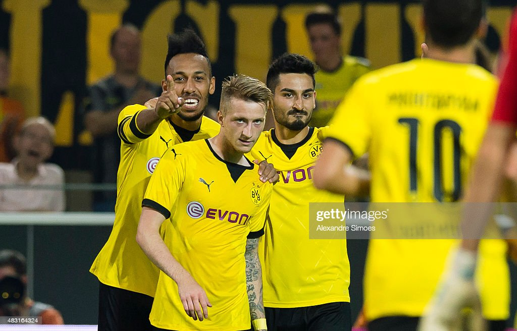 Marco Reus (2ndL) of Borussia Dortmund celebrates scoring the opening goal together with his team mates Pierre-Emerick Aubameyang and Ilkay Guendogan during the UEFA Europa League: Third Qualifying Round 2nd Leg match between Borussia Dortmund and Wolfsberg at Signal Iduna Park on August 06, 2015 in Dortmund, Germany.