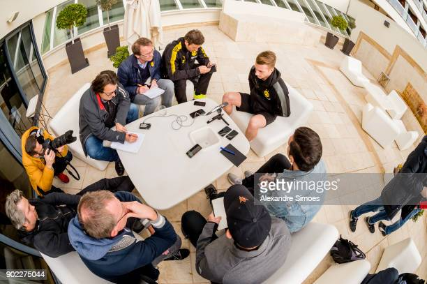 Marco Reus of Borussia Dortmund during an interview session with the press as part of the training camp at the Estadio Municipal de Marbella on...
