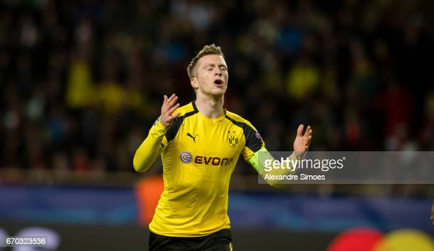 Marco Reus of Borussia Dortmund during the UEFA Champions League Quarter Final Second Leg match between AS Monaco and Borussia Dortmund at Stade...