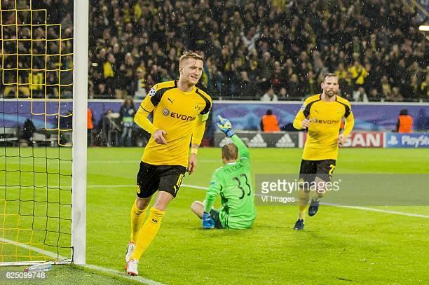 Marco Reus of Borussia Dortmund goalkeeper Radoslaw Cierzniak of Legia Warsaw Gonzalo Castro of Borussia Dortmundduring the UEFA Champions League...