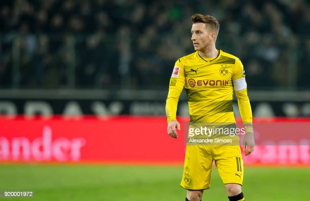 Marco Reus of Borussia Dortmund in action during the Bundesliga match between Borussia Moenchengladbach and Borussia Dortmund at the BorussiaPark on...