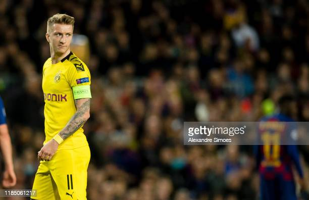 Marco Reus of Borussia Dortmund in action during the Group F - UEFA Champions League match between FC Barcelona and Borussia Dortmund at Camp Nou on...