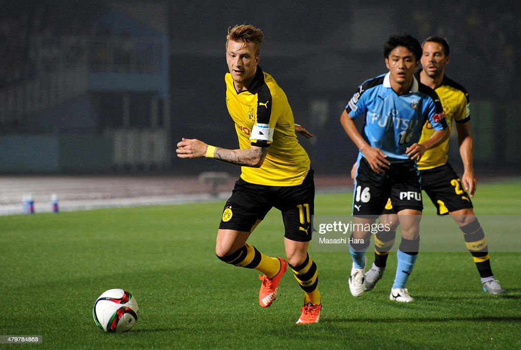 Marco Reus #11 of Borussia Dortmund in action during the preseason friendly match between Kawasaki Frontale and Borussia Dortmund at Todoroki Stadium on July 7, 2015 in Kawasaki, Kanagawa, Japan.