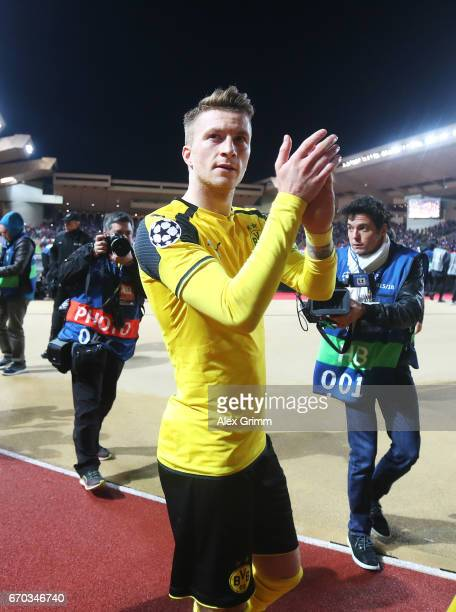 Marco Reus of Borussia Dortmund is dejected after losing the UEFA Champions League Quarter Final second leg match between AS Monaco and Borussia...
