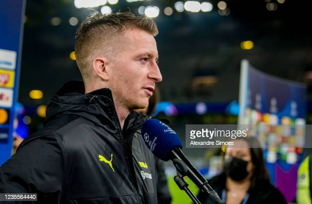 Marco Reus of Borussia Dortmund is giving an interview after the final whistle during the Champions League Group C match between Borussia Dortmund...