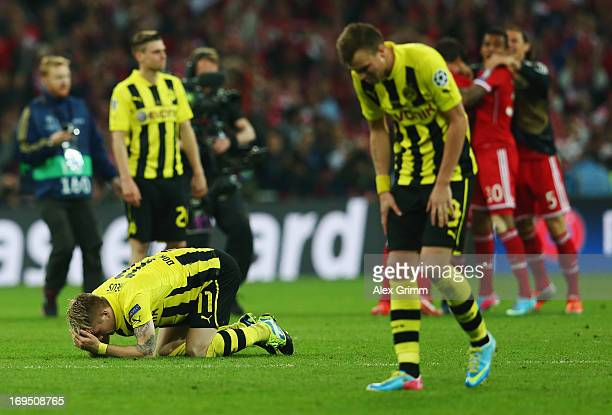 Marco Reus of Borussia Dortmund looks dejected in defeat after the UEFA Champions League final match between Borussia Dortmund and FC Bayern Muenchen...