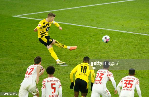 Marco Reus of Borussia Dortmund misses a penalty during the Bundesliga match between Borussia Dortmund and 1. FSV Mainz 05 at Signal Iduna Park on...