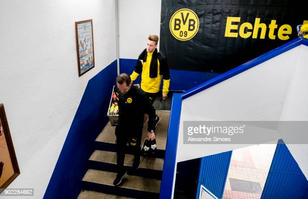 Marco Reus of Borussia Dortmund on his way to the training session as part of the training camp at the Estadio Municipal de Marbella on January 07...