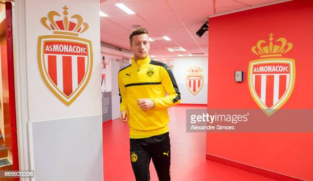 Marco Reus of Borussia Dortmund on his way to the training session prior to the UEFA Champions League Quarter Final Second Leg match between AS...