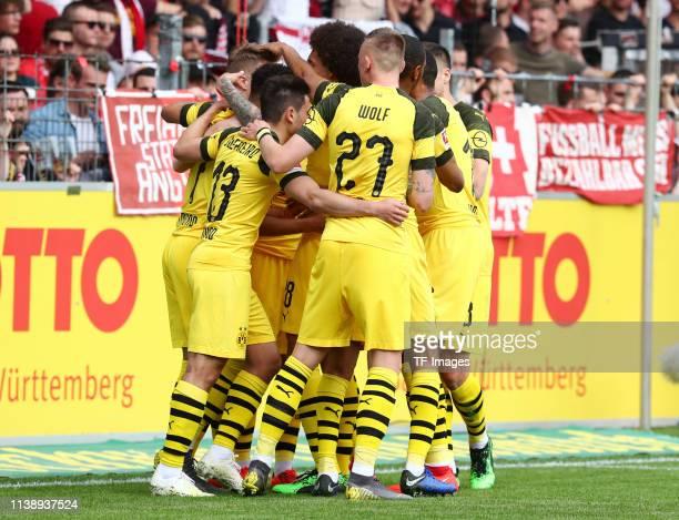 Marco Reus of Borussia Dortmund Raphael Guerreiro of Borussia Dortmund Axel Witsel of Borussia Dortmund Marius Wolf of Borussia Dortmund Manuel...