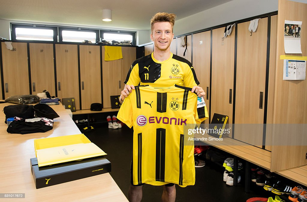 Marco Reus of Borussia Dortmund revealing the new Borussia Dortmund home jersey, Season 2016-2017 on May 12, 2016 in Dortmund, Germany.