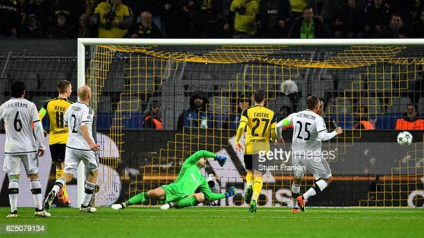 Marco Reus of Borussia Dortmund scores his teams fifth goal during the UEFA Champions League Group F match between Borussia Dortmund and Legia...