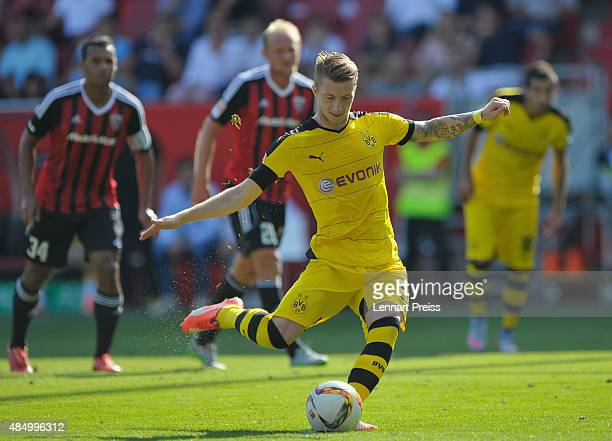 Marco Reus of Borussia Dortmund scores his team's second goal with a penalty during the Bundesliga match between FC Ingolstadt and Borussia Dortmund...