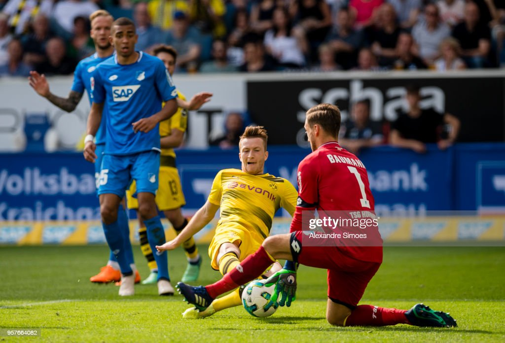 Marco Reus of Borussia Dortmund scores the goal to the 1:1 during the Bundesliga match between TSG 1899 Hoffenheim and Borussia Dortmund at the Wirsol Rhein-Neckar-Arena on May 12, 2018 in Sinsheim, Germany.