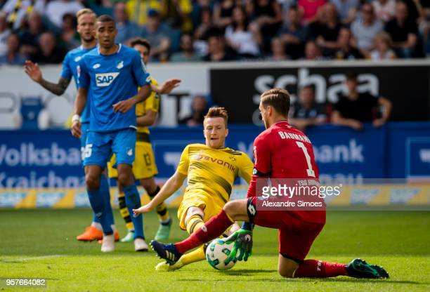 Marco Reus of Borussia Dortmund scores the goal to the 11 during the Bundesliga match between TSG 1899 Hoffenheim and Borussia Dortmund at the Wirsol...