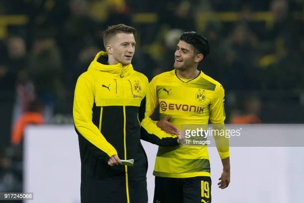 Marco Reus of Dortmund and Mahmound Dahoud of Dortmund celebrates after winning the Bundesliga match between Borussia Dortmund and Hamburger SV at...
