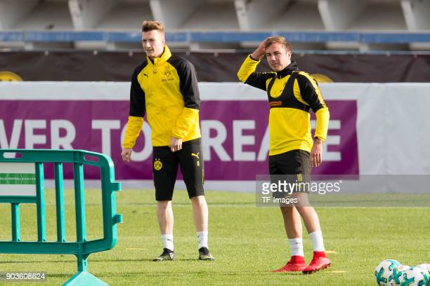 Marco Reus of Dortmund and Mario Goetze of Dortmund look on during the Borussia Dortmund training camp at Marbella Football Center on January 07 2018...