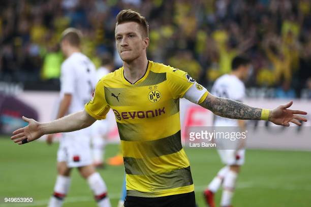 Marco Reus of Dortmund celebrates after he scored a goal to make it 40 during the Bundesliga match between Borussia Dortmund and Bayer 04 Leverkusen...