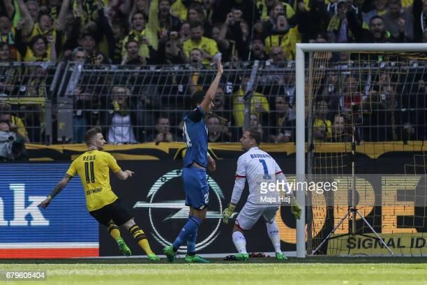 Marco Reus of Dortmund celebrates after scoring his team's first goal to make it 10 during the Bundesliga match between Borussia Dortmund and TSG...