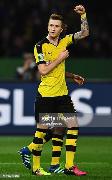 Marco Reus of Dortmund celebrates after scoring his teams second goal during the DFB Cup semi final match between Hertha BSC Berlin and Borussia...