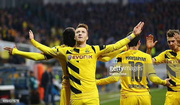 Marco Reus of Dortmund celebrates after scoring the 2nd goal during the Bundesliga match between SC Paderborn and Borussia Dortmund at Benteler Arena...