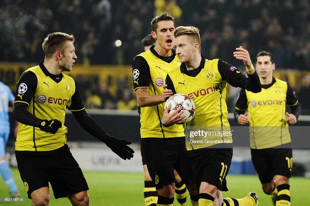 Marco Reus of Dortmund celebrates his team's first goal during the UEFA Champions League Group F match between Borussia Dortmund and SSC Napoli at Signal Iduna Park on November 26, 2013 in Dortmund, Germany.