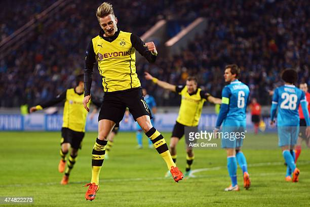 Marco Reus of Dortmund celebrates his team's second goal during the UEFA Champions League Round of 16 match between FC Zenit and Borussia Dortmund at...