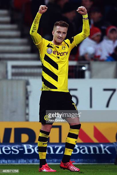 Marco Reus of Dortmund celebrates his team's third goal during the Bundesliga match between VfB Stuttgart and Borussia Dortmund at MercedesBenz Arena...