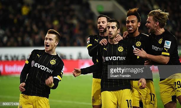 Marco Reus of Dortmund celebrates scoring his goal during the Bundesliga match between VfL Wolfsburg and Borussia Dortmund at Volkswagen Arena on...