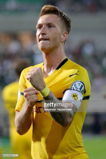 Marco Reus of Dortmund celebrates scoring the winning goal during the DFB Cup first round match between SpVgg Greuther Fuerth and BVB Borussia...