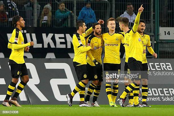 Marco Reus of Dortmund celebrates the first goal with his team mates during the Bundesliga match between Borussia Moenchengladbach and Borussia...
