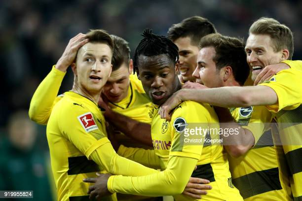 Marco Reus of Dortmund celebrates the first goal with his team mates during to the Bundesliga match between Borussia Moenchengladbach and Borussia...