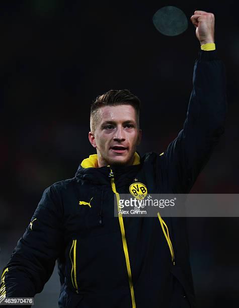 Marco Reus of Dortmund celebrates with the fans after the Bundesliga match between VfB Stuttgart and Borussia Dortmund at MercedesBenz Arena on...
