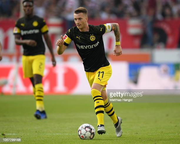 Marco Reus of Dortmund controls the ball during the Bundesliga match between VfB Stuttgart and Borussia Dortmund at MercedesBenz Arena on October 20...
